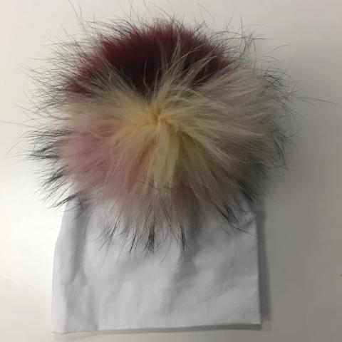 White Hat with Multicolor Pom Pom