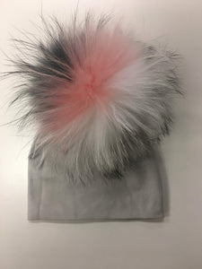 Grey Hat with Multicolor Pom Pom