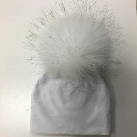 White Hat with White Pom Pom
