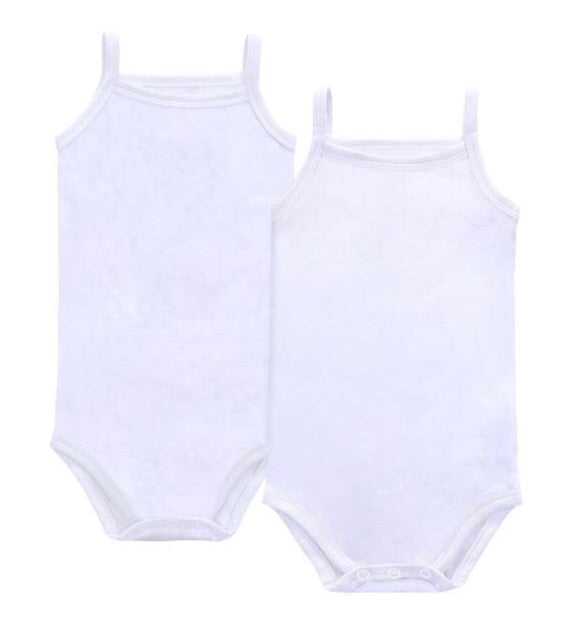 Petit Claire White Sleeveless Undershirt Set of Two