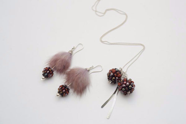 Furry berry earrings and necklace set