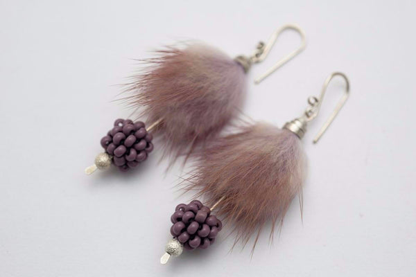 Furry berries earrings and necklace set