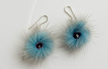 Radial blue earrings