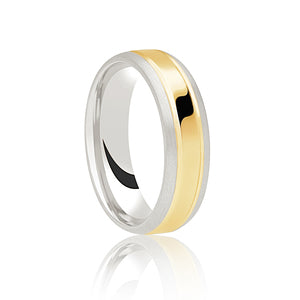 Two Tone Ring with Brushed Edges