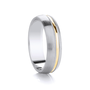 Offcentre Two Tone Ring with Milgrain Edge