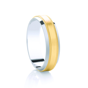 Two Tone Ring with Brushed Centre and Milgrain Edges