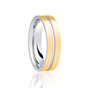 Two Tone Ring with Central Groove