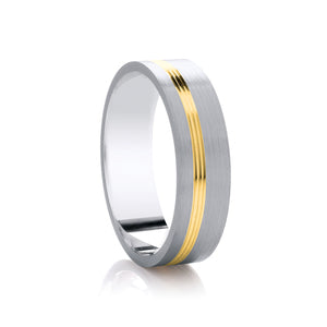 Two Tone Offcentre Diamond Cut Ring