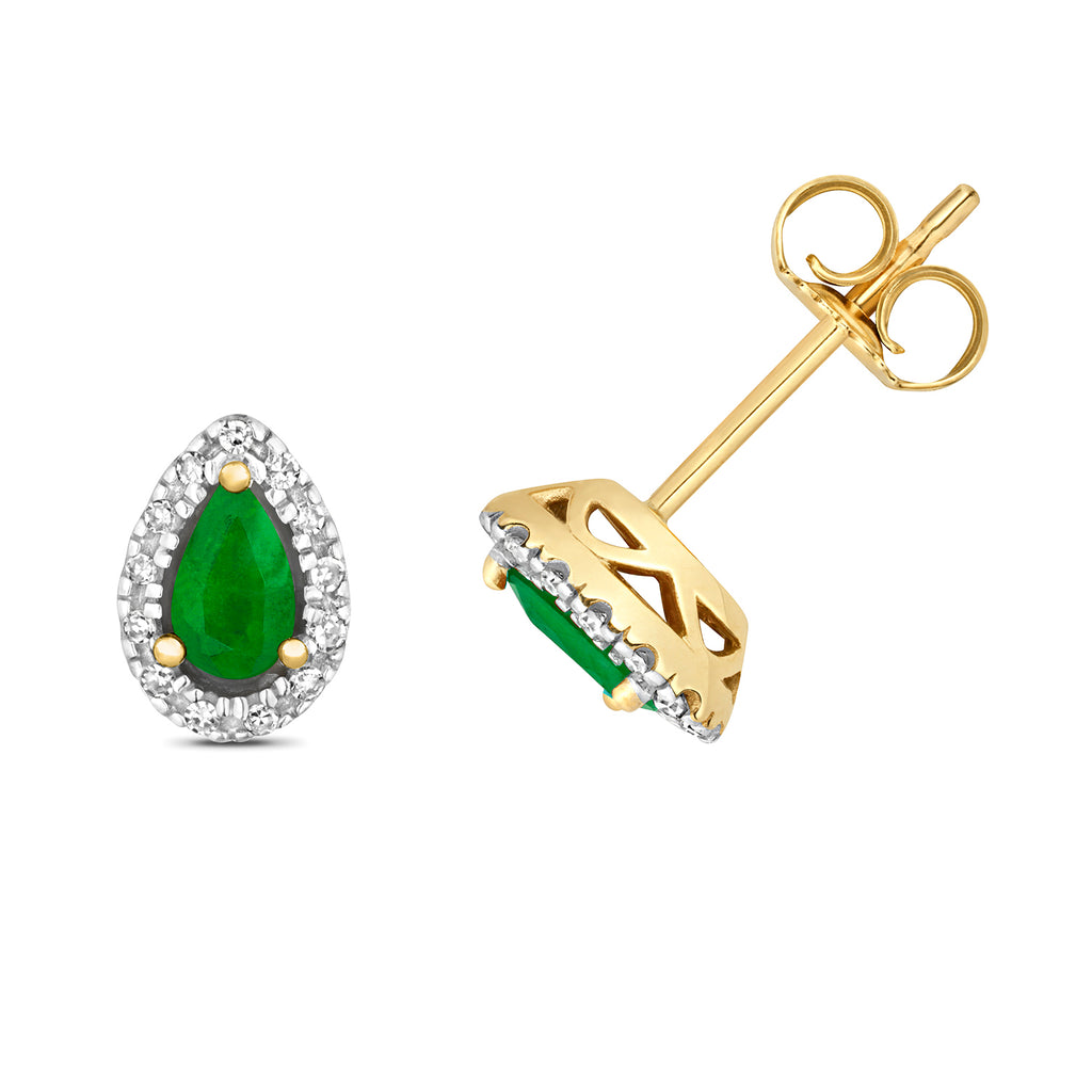 Pear Cut Emerald and Diamond Stud Earrings