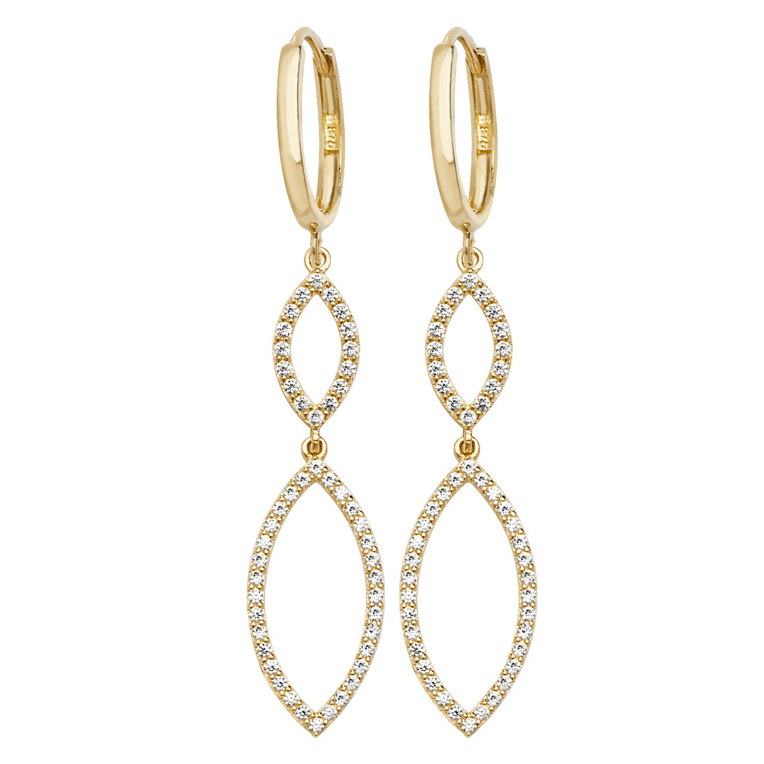 Cubic Zirconia Dropper Hoop Earrings