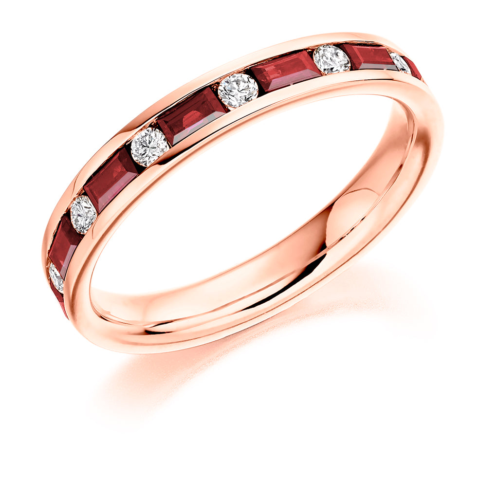 Channel Set Mixed Cut Ruby and Diamond Ring