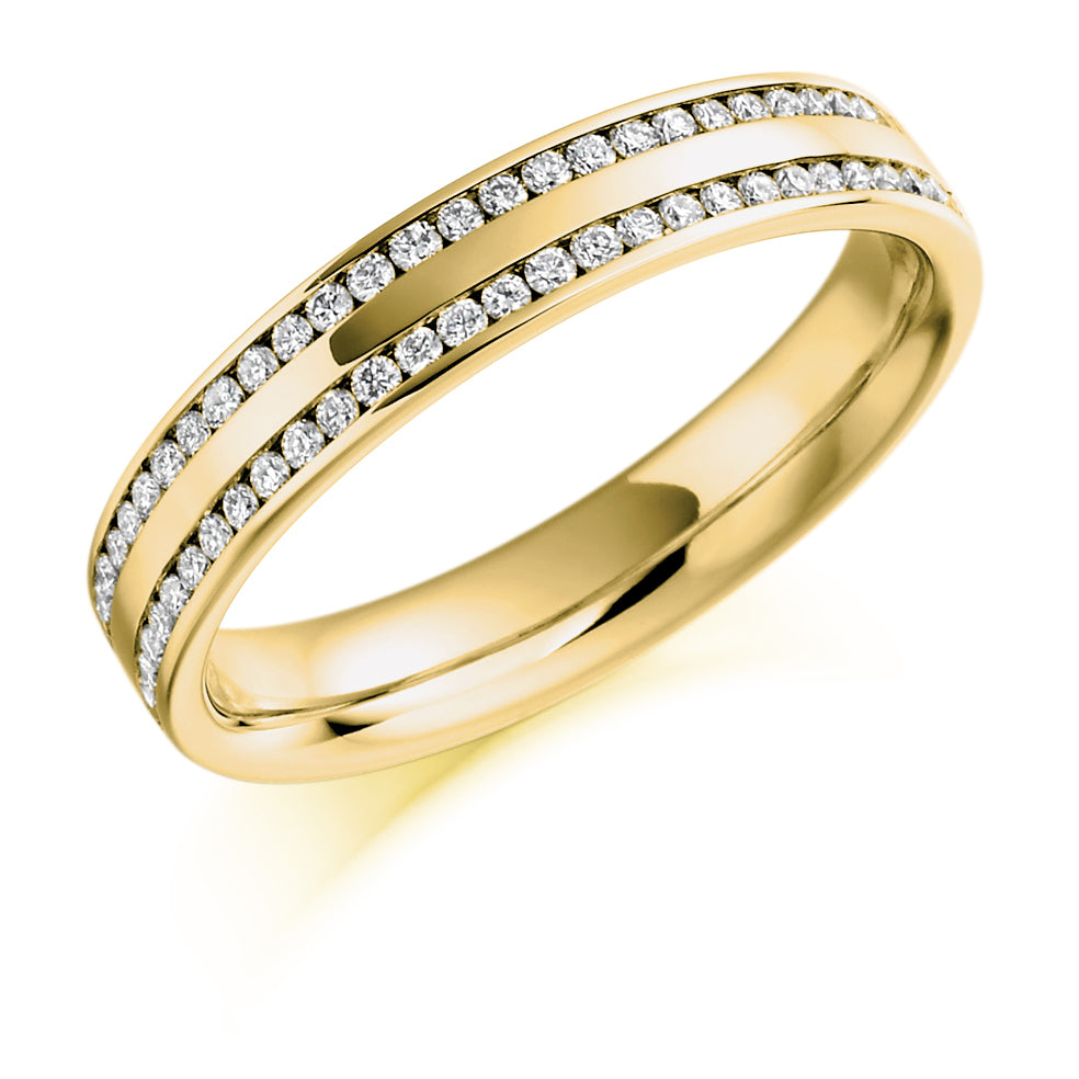 Half Channel Set Round Diamond Double Row Ring