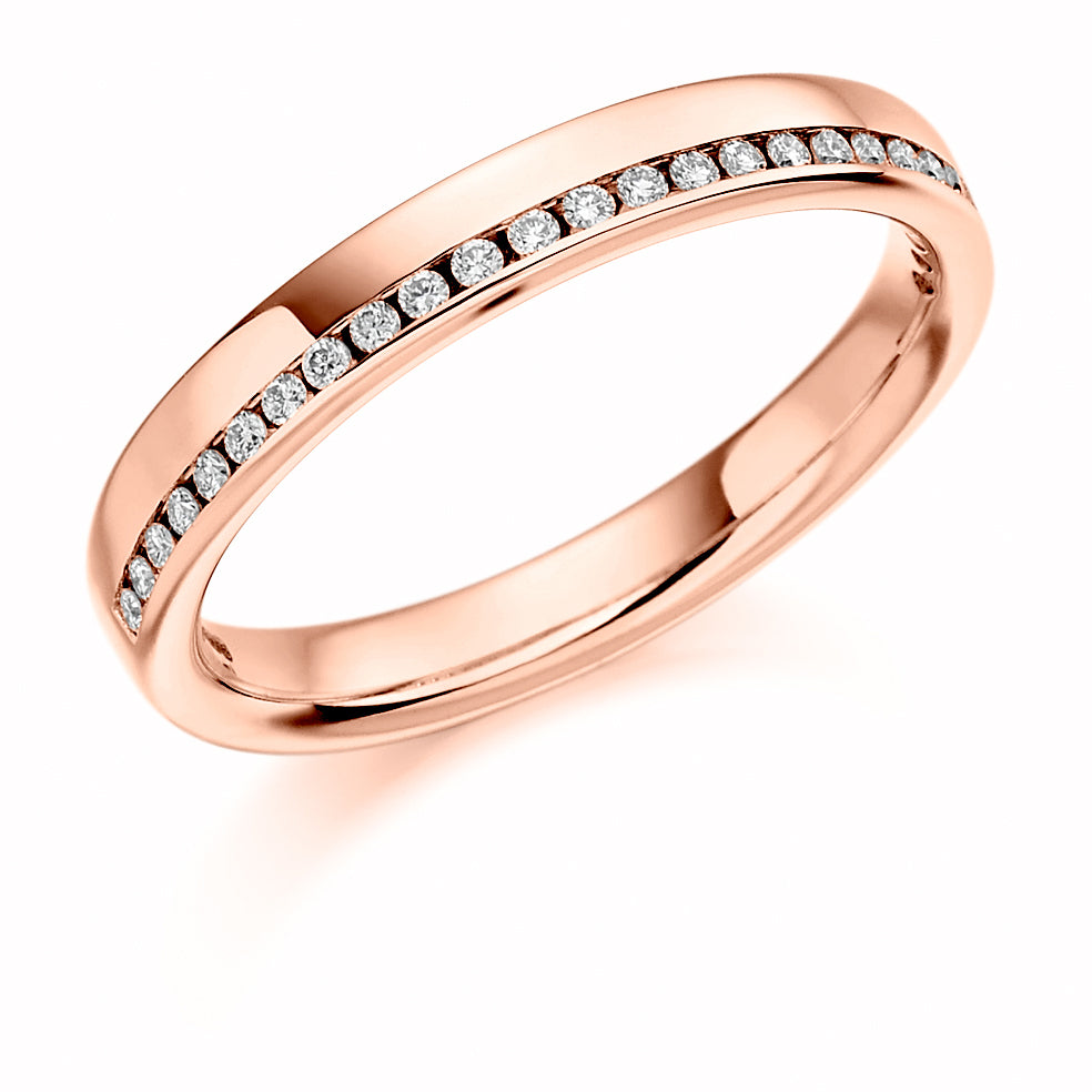 Offset Channel Set Round Diamond Ring