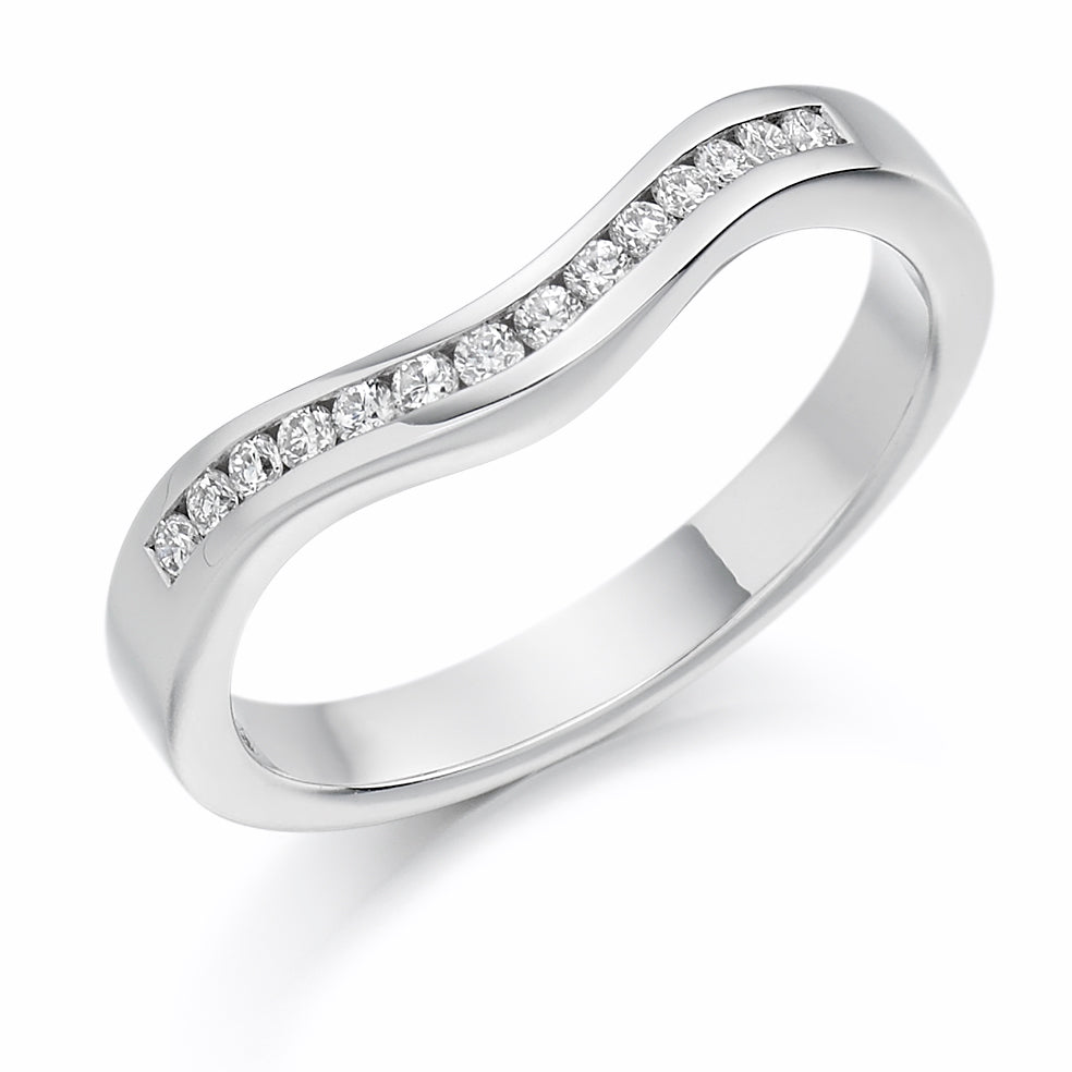 Channel Set Curved Shaped Diamond Ring