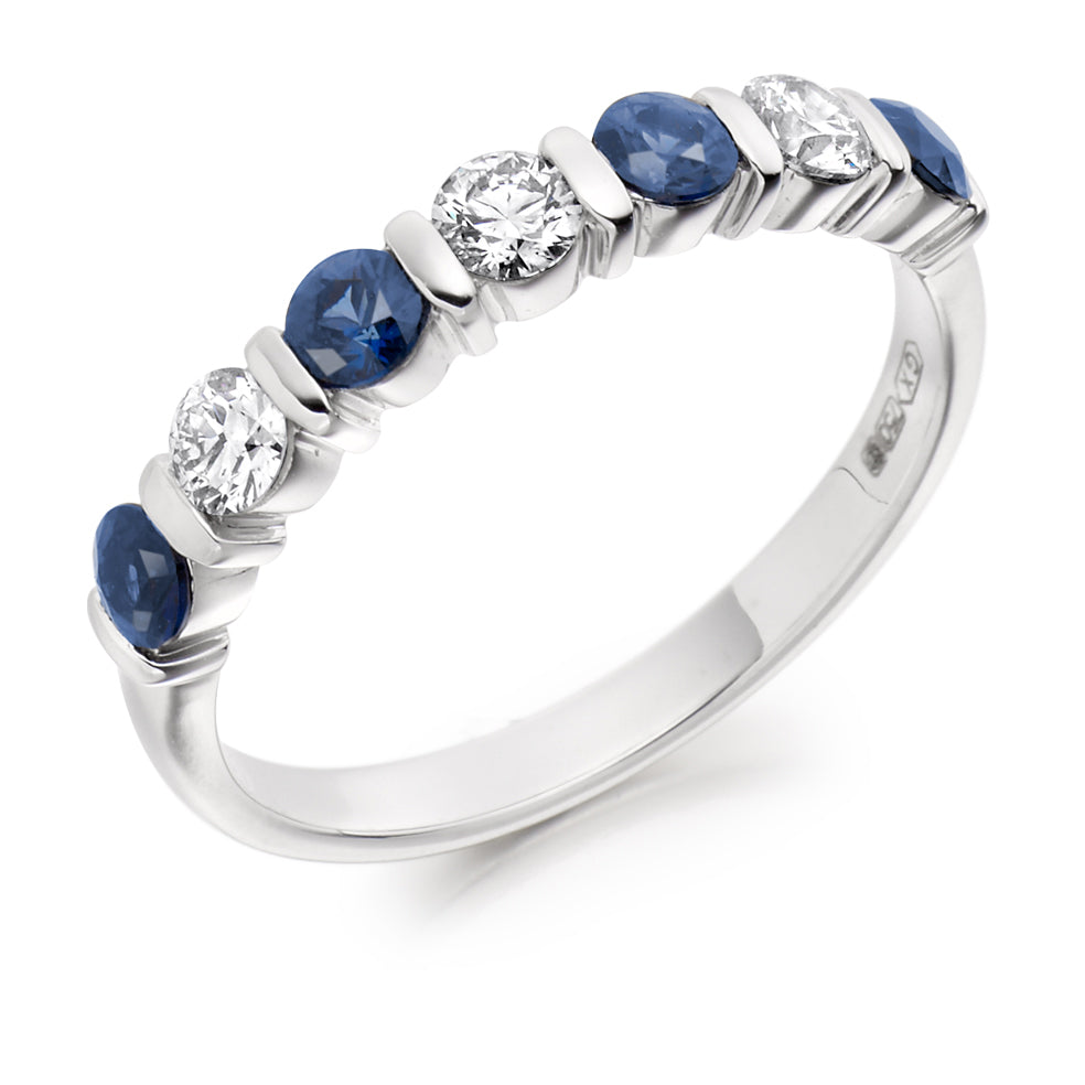 Bar Set Sapphire and Diamond Ring