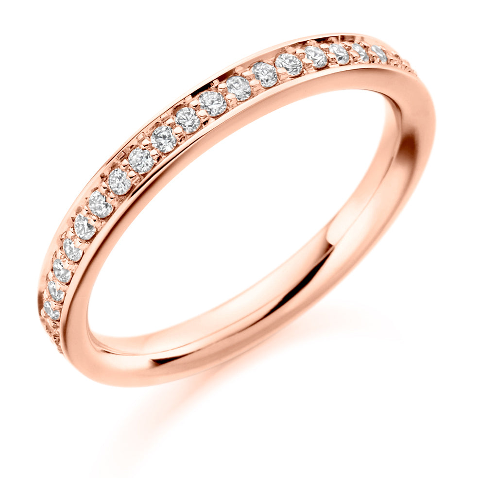 Half Grain Set Round Diamond Ring
