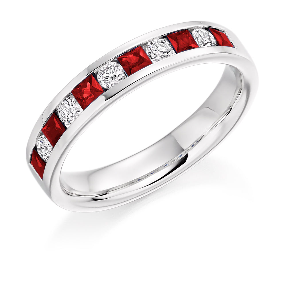 Channel Set Round and Princess Cut Ruby and Diamond Ring
