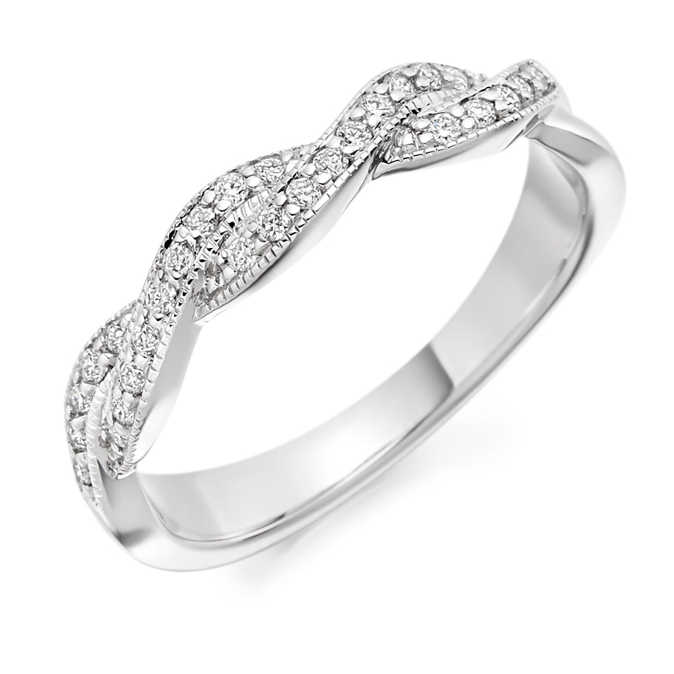 Infinity Twist Grain Set Round Diamond Ring