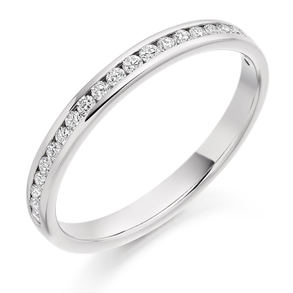 Half Channel Set Round Diamond Ring