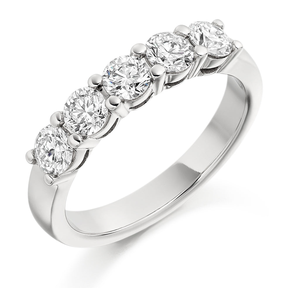 Five Stone Claw Set Round Diamond Ring