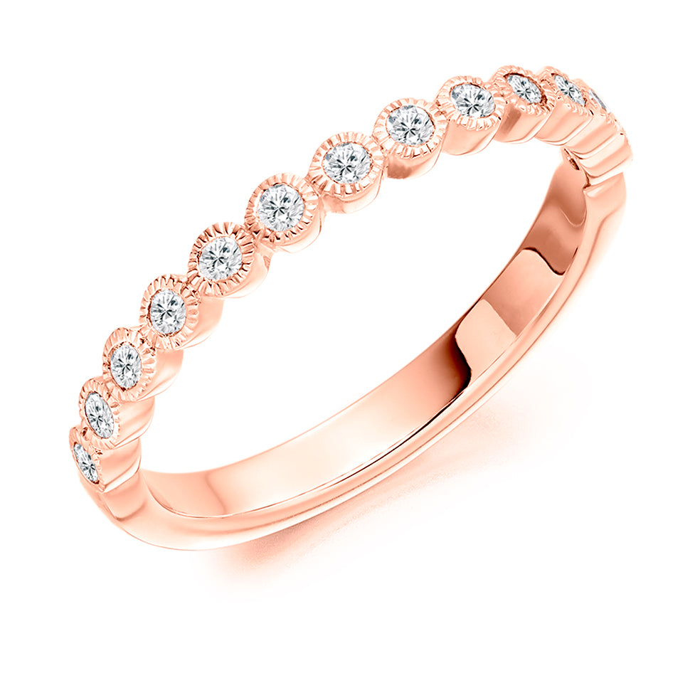 Collet Set Millgrain Round Diamond Ring