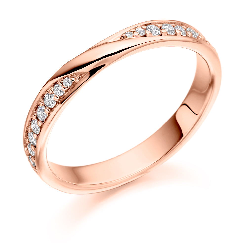 Grain Set Ribbon Twist Diamond Ring