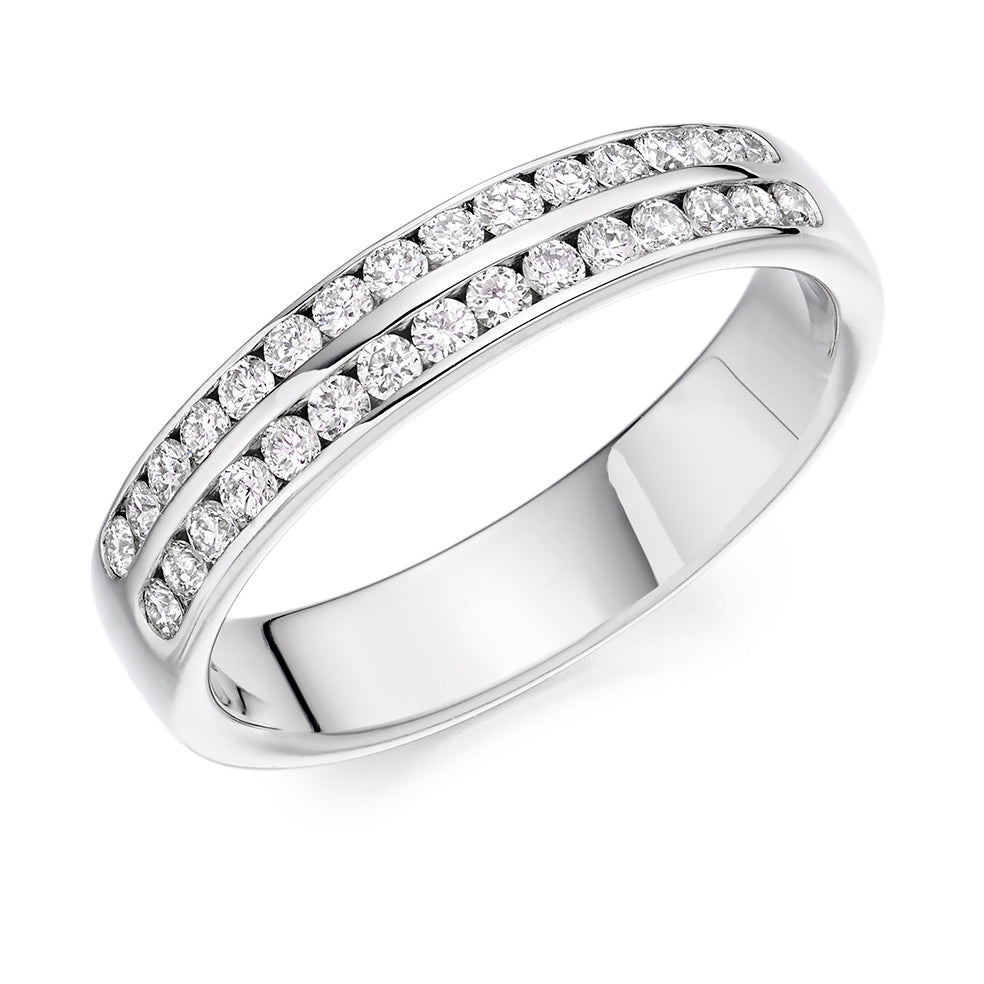 Channel Set Double Row Round Diamond Ring