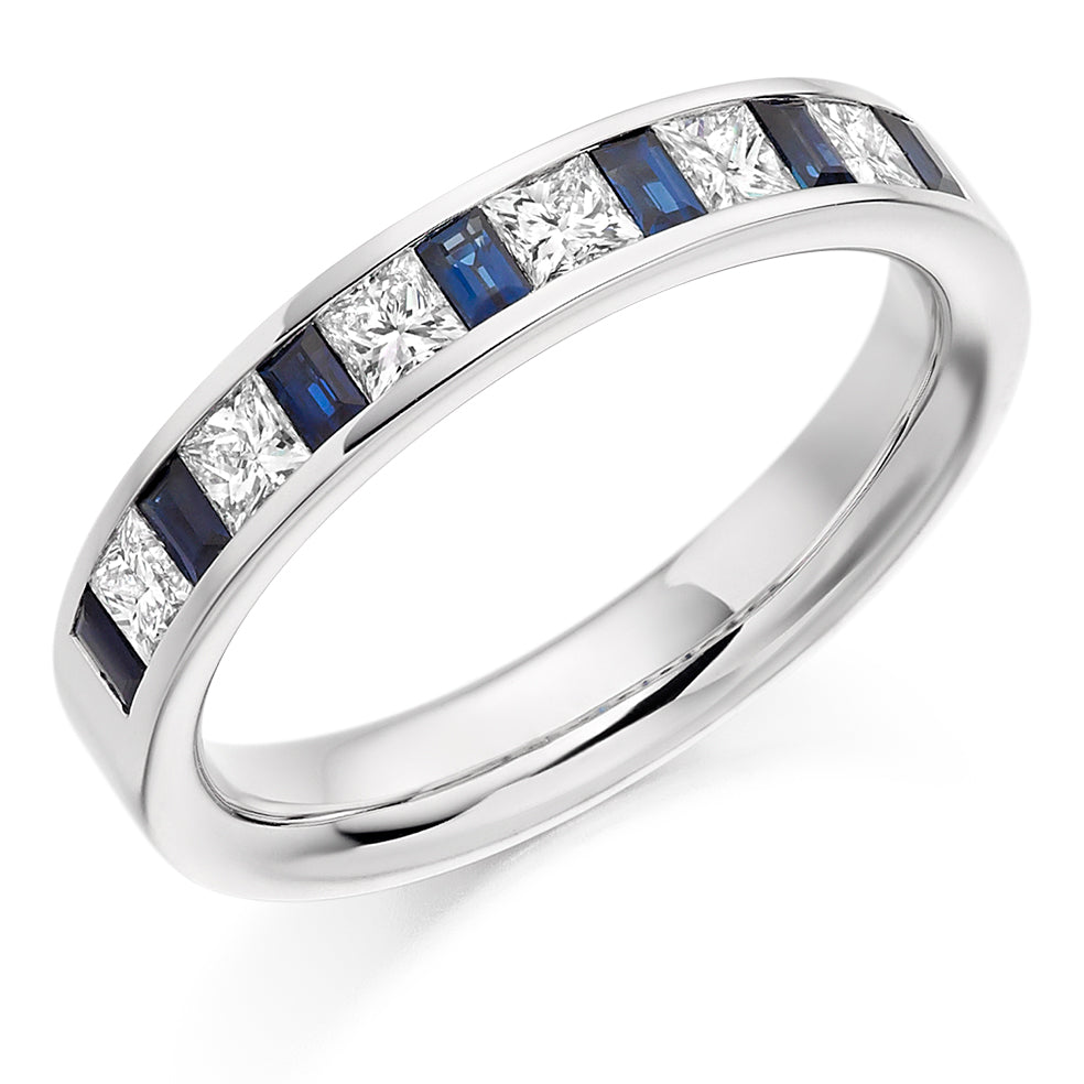Channel Set Mixed Cut Sapphire and Diamond Ring