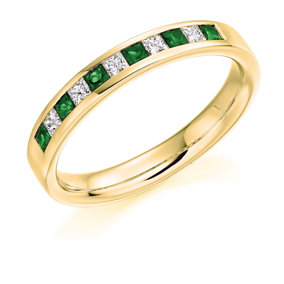 Channel Set Princess Cut Emerald and Diamond Ring