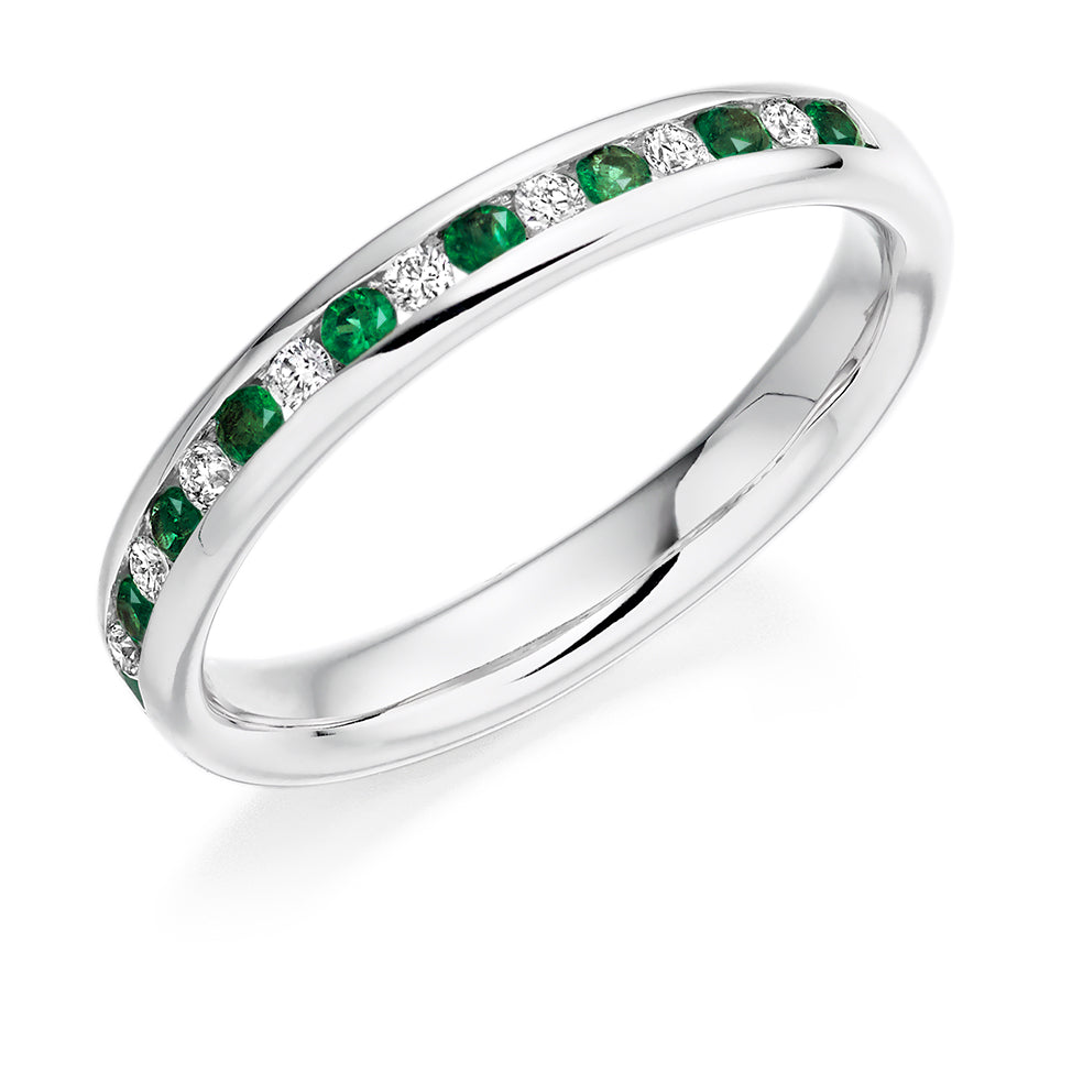 Channel Set Emerald and Diamond Ring