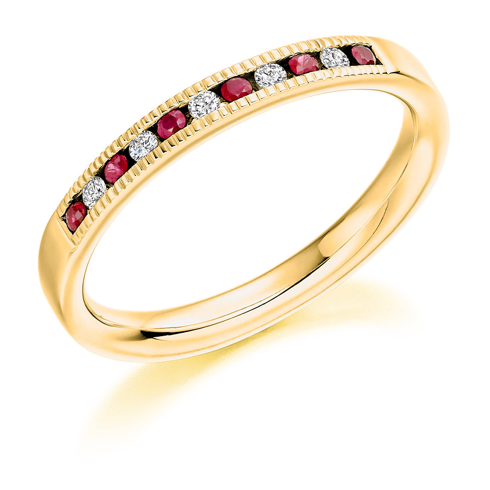 Channel Set Ruby and Diamond Ring