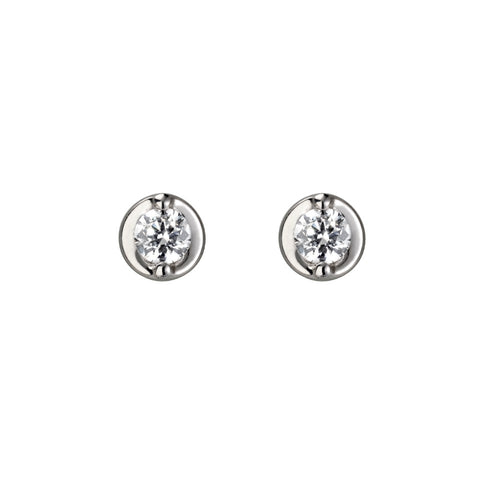 Rounded Diamond Stud Earrings