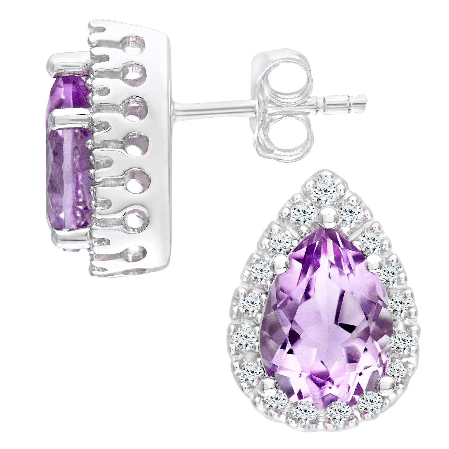 Simplicity Pear Shaped Amethyst and Diamond Halo Stud
