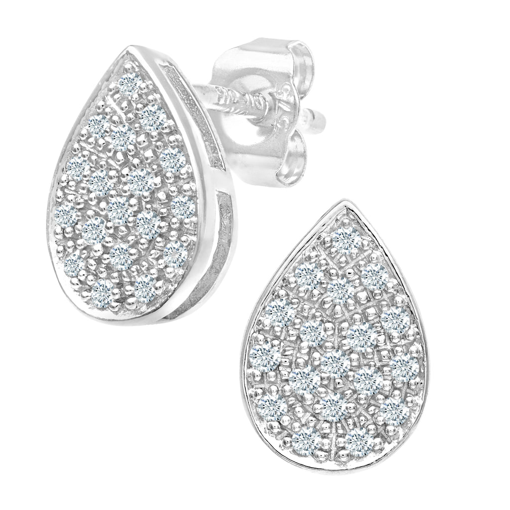 Simplicity Pear Shaped White Gold Diamond Cluster Stud