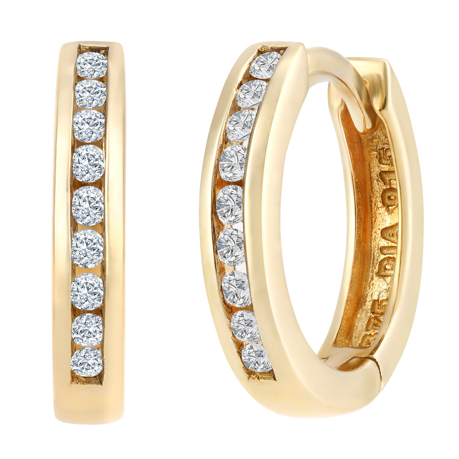 Simplicity Yellow Gold Channel Set Diamond Hoop