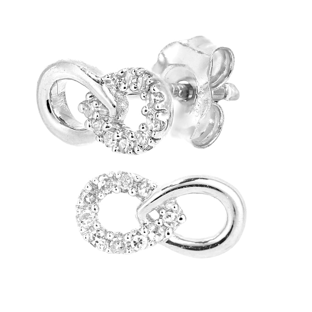 Simplicity White Gold Half Set Horizontal Infinity Stud