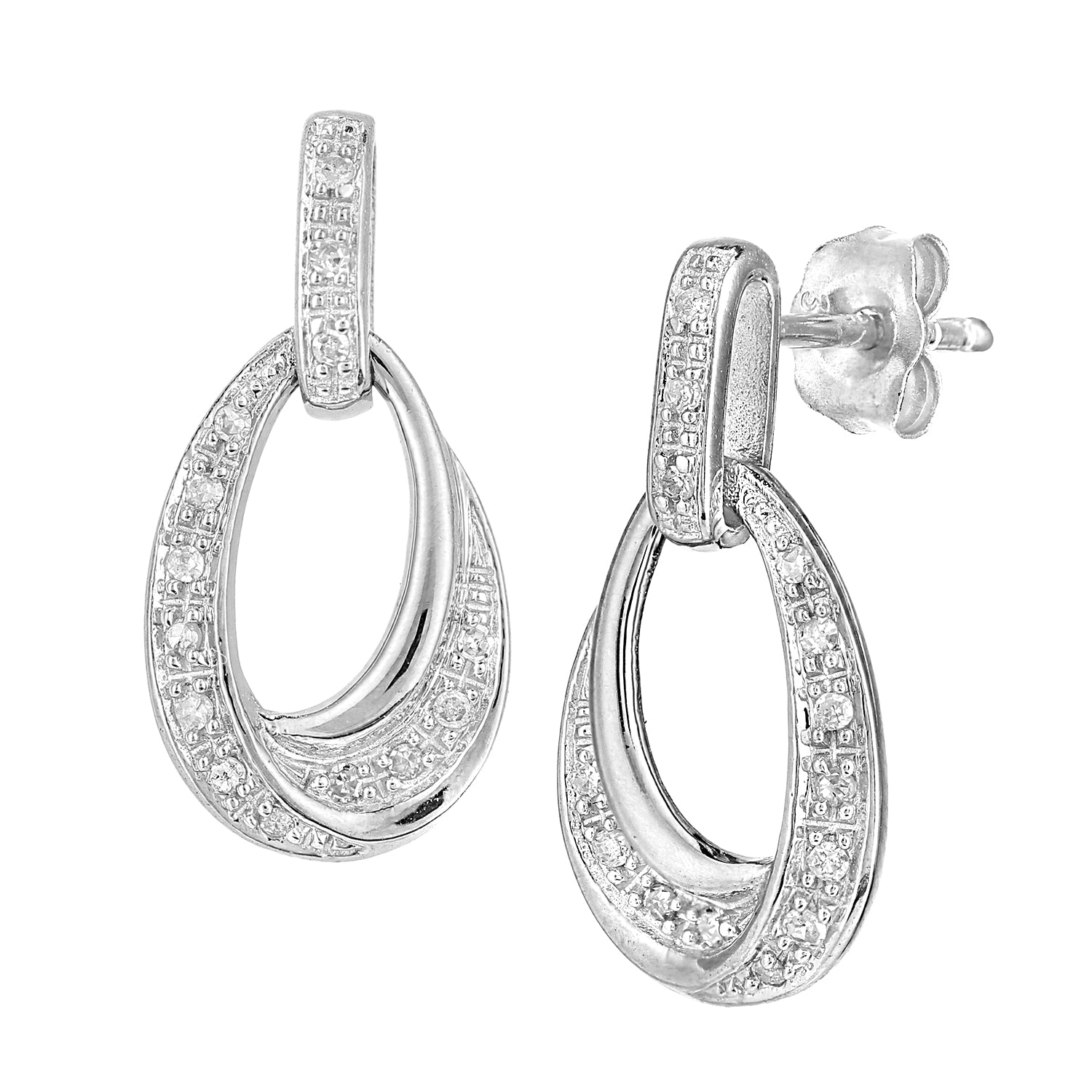 Simplicity White Gold Oval Diamond Set Twisted Dropper