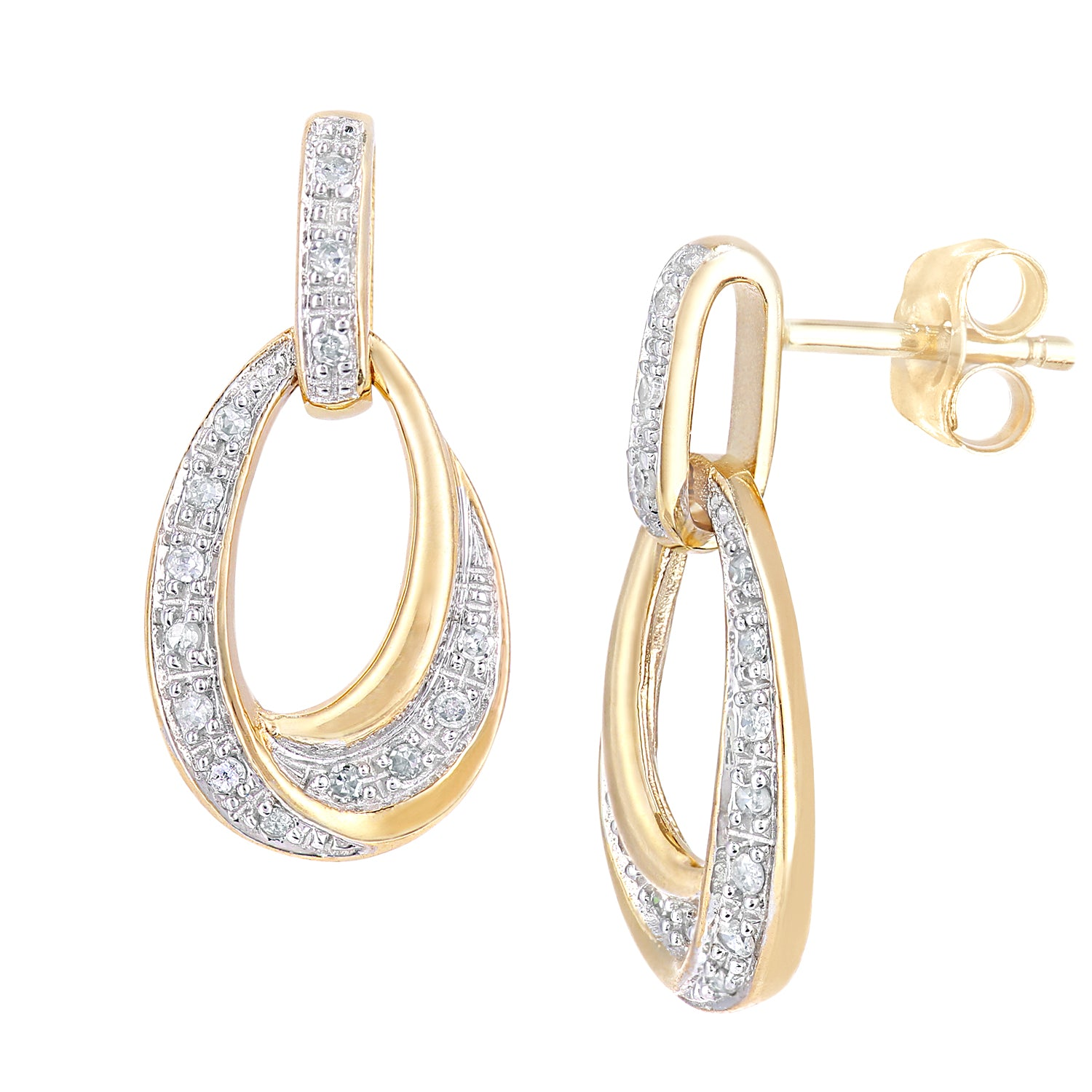 Simplicity Yellow Gold Oval Diamond Set Twisted Dropper