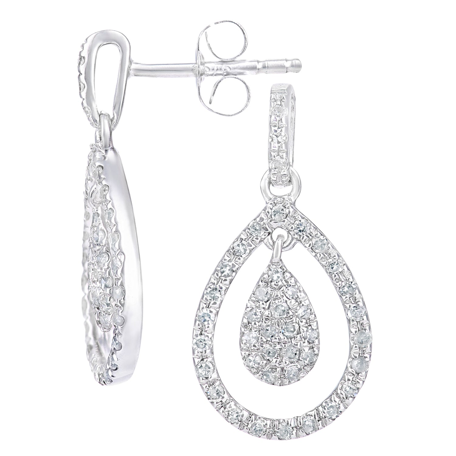 Simplicity White Gold Open Diamond Pear Dropper