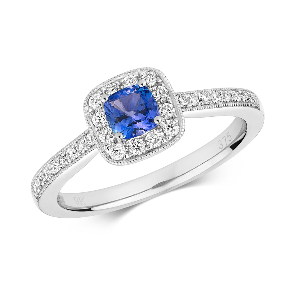 Cushion Tanzanite Halo Ring