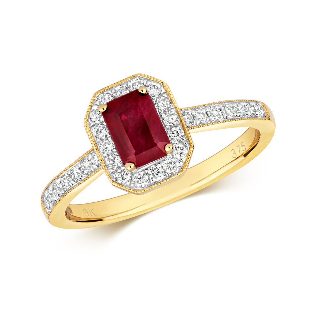 Octagon Ruby Halo Ring
