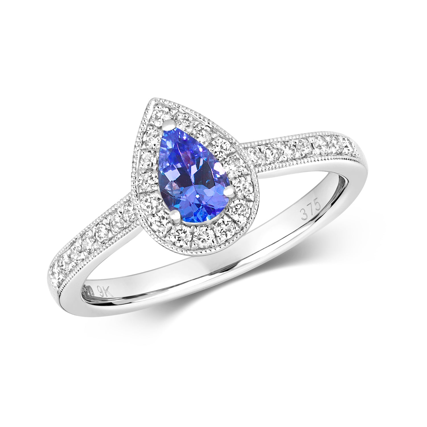 Pear Tanzanite Halo Ring