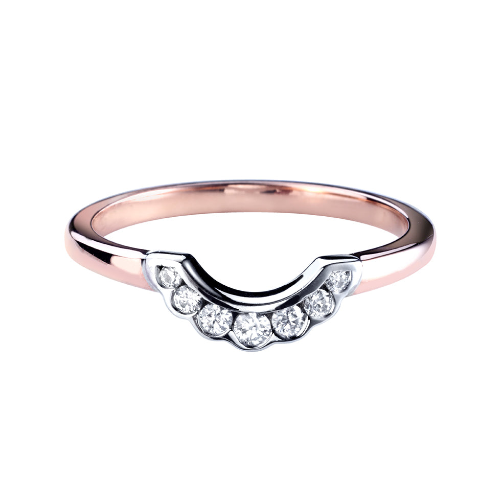 Channel Set Shaped Scalloped Diamond Ring