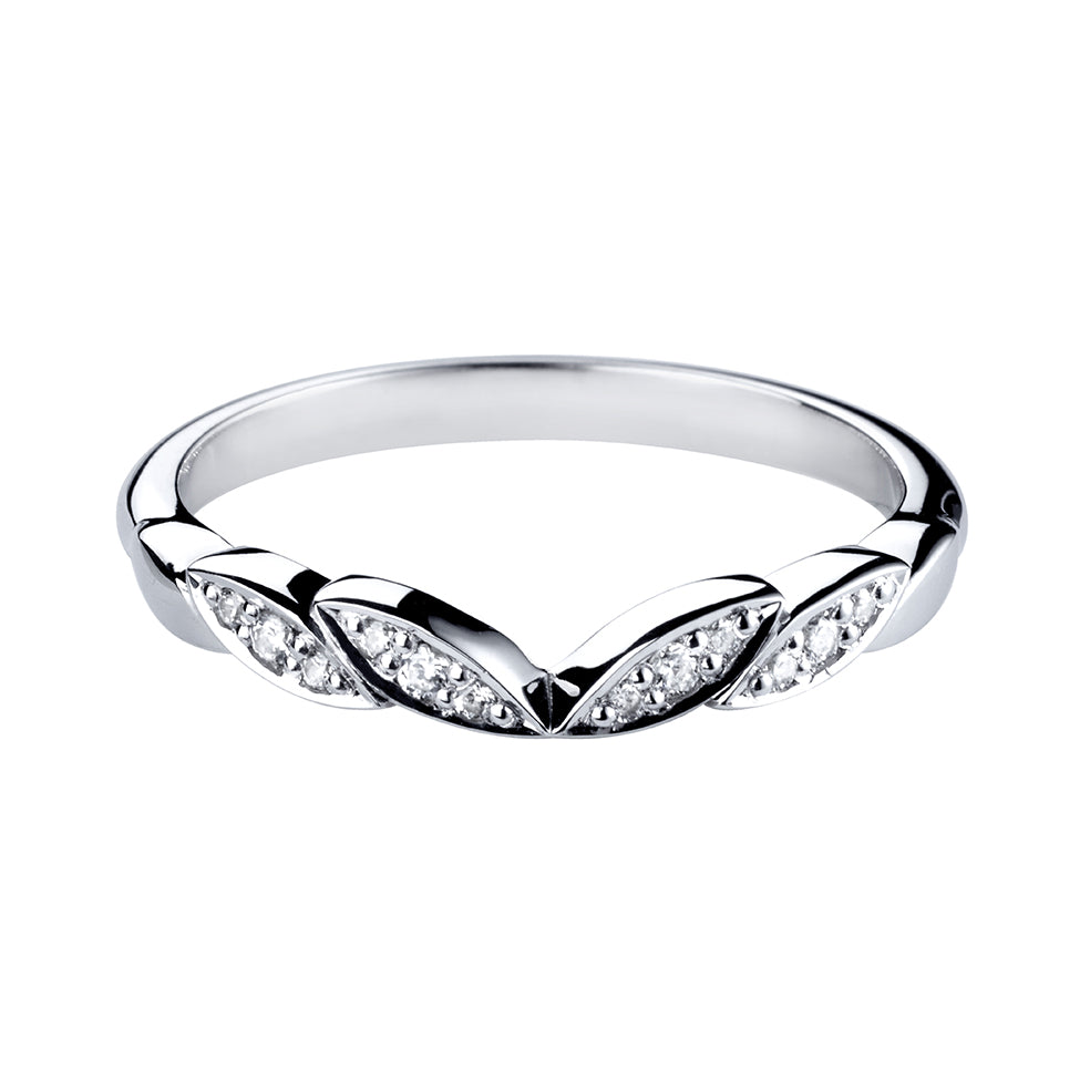 Grain Set Wishbone Shaped Diamond Ring