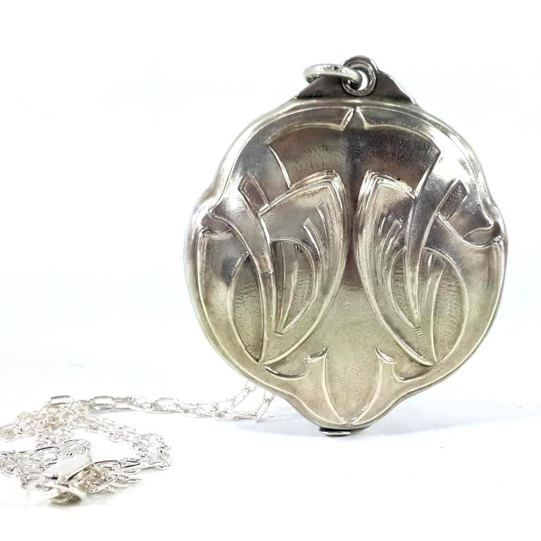 Antique large art nouveau deco silver 800 pill box pendant necklace antique art nouveaudeco pill box pendant made in silver 800 with added new sterling aloadofball Gallery