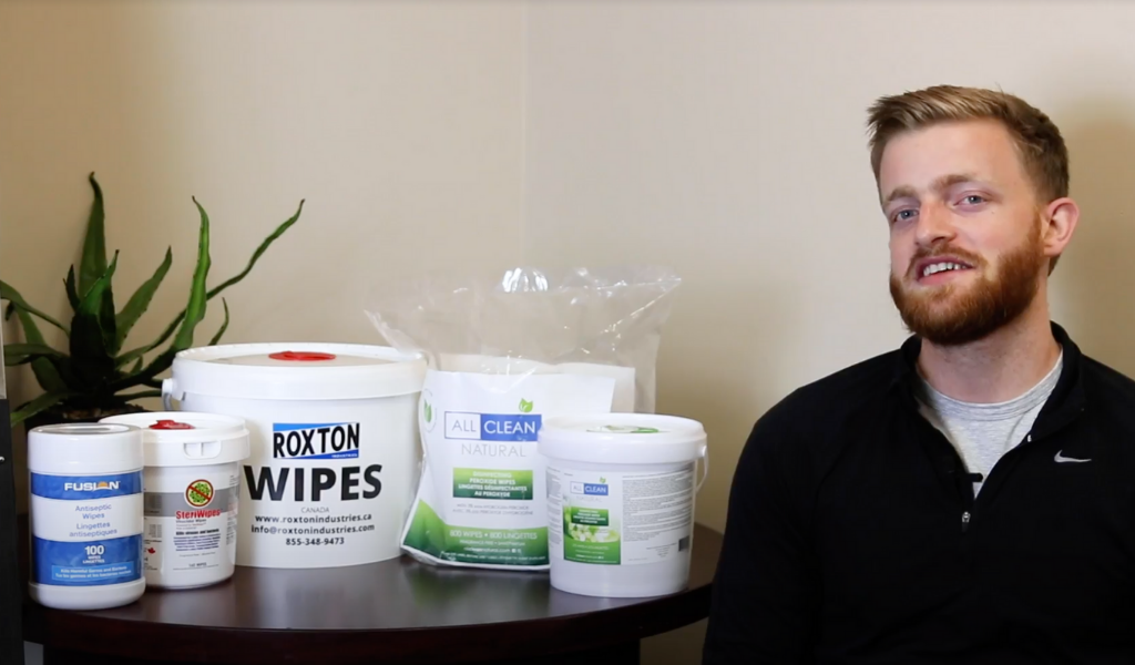 Roxton Industries Disinfecting Wipes Collection on a table