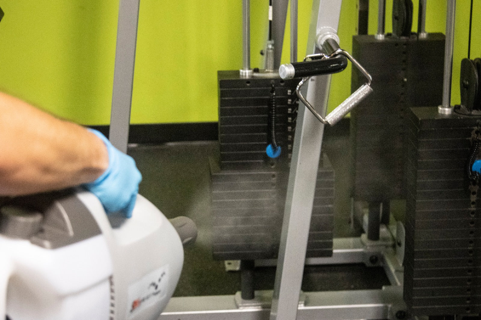 Disinfectant Fogger spraying in a gym