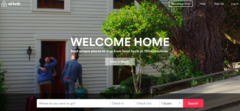 air bnb home screen on a website