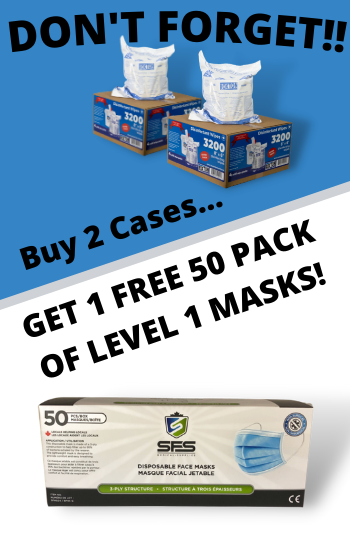 Free Face Masks with purchase of 2 Regularly priced wipes cases