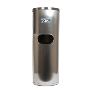 A stainless steel wipe dispenser with a built in garbage